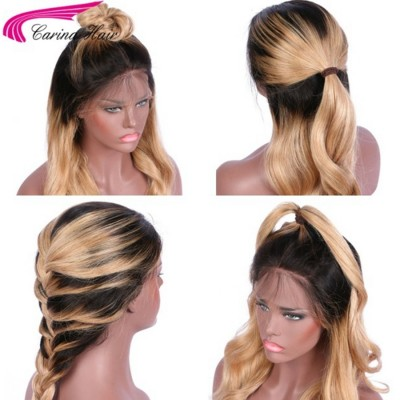Body Wave T1B/27# Ombre Color Lace Front Wigs Peruvian Remy Human Hair Full Lace Wigs with Baby Hair