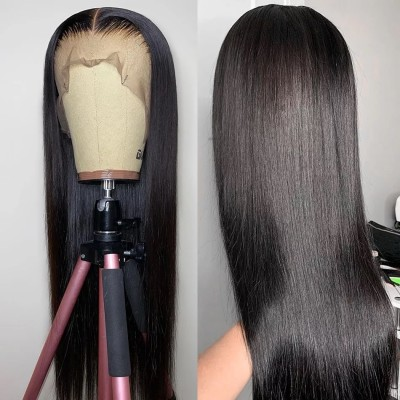 Carina 10A Silk Straight Human Hair Front Lace Wigs with Baby hair for Women