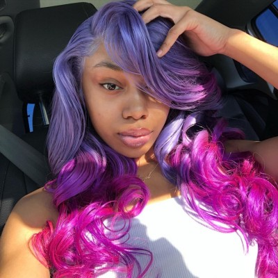 Carina Customized Ombre Purple Straight/Wave Lace Front Wig Pre-Plucked Hairline