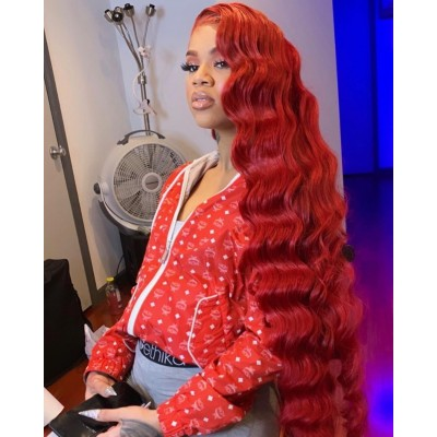 Carina Customized Red Remy Hair Wigs Wave Lace Wigs Pre Plucked Hairline