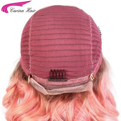 Remy Human Hair Ombre Color Hair Lace Front Hair Wigs 130% Density Pink Glueless Lace Wigs with Baby Hair