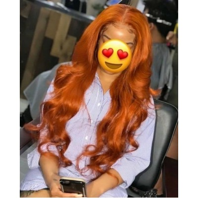 Autumn Orange Color Remy Human Hair Wigs Wave Lace Wigs Pre Plucked Hairline