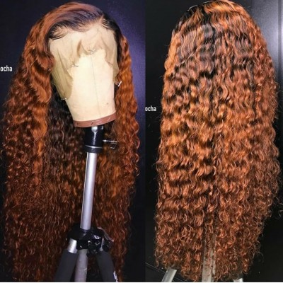 Ombre Color Lace Frontal Wig Brazilian Remy Curly Human Hair Wigs for Women