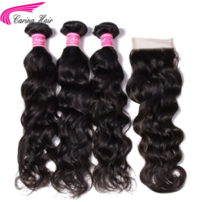 10A Natural Wave Hair Extensions Brazilian Hair Weave 3 Bundles with 4x4 Lace Closure Free Part