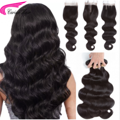 Body Wave Hair Extensions Brazilian Hair Weave 3 Bundles with 4x4 Lace Closure Free Part
