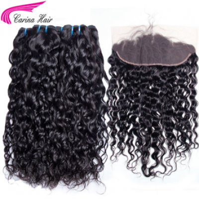 Water Wave Brazilian Hair Weave 3 Bundles with 13*4 Ear to Ear Lace Frontal Free Part