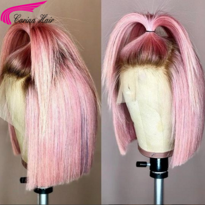 Carina Customized Ombre Pink Bob Wigs Brazilian Remy Human Hair Lace Wigs For Black Women