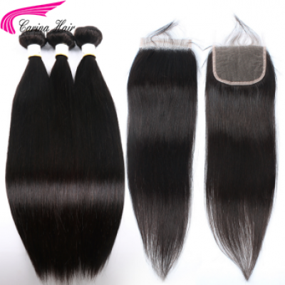 10A Silky Straight Hair Extensions 3 Bundles with 4x4 Lace Closure Free Part
