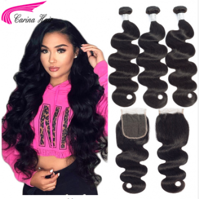 10A Body Wave Brazilian Hair Extensions 3 Bundles with 4x4 Lace Closure Free Part Natural Color