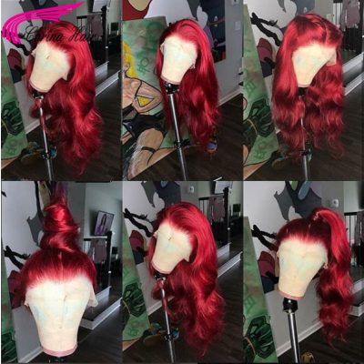 Carina Customized Loose Wave Red Color Human Hair Lace Wigs with Baby Hair Pre Plucked Hairline