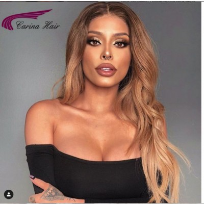 Carina Ombre Human Hair Wave Lace Wigs with Baby Hair Pre Plucked Hairline