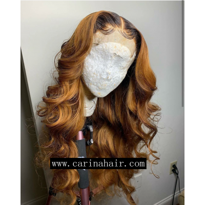 Loose Wave Ombre Color Lace Wigs Peruvian Remy Human Hair Wigs Pre Plucked