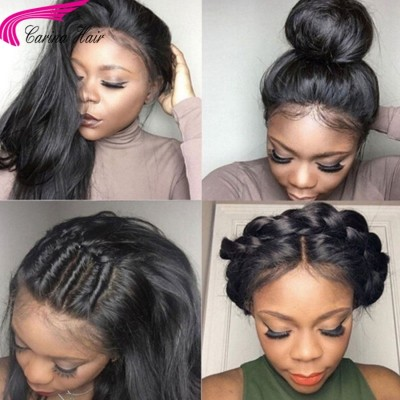 Straight 360 Lace Wig Brazilian Virgin Glueless Human Hair Wigs With Baby Hair High Ponytail