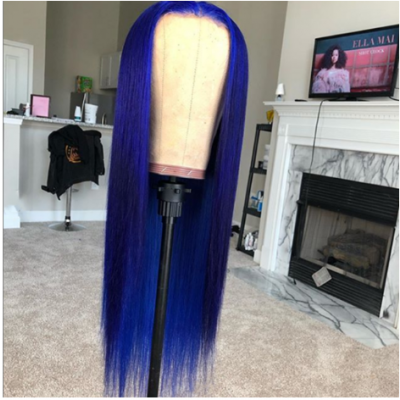 Carina Customized Blue Color Glueless Lace Wigs Brazilian Remy Silky Straight Human Hair Wigs Pre Plucked Hairline