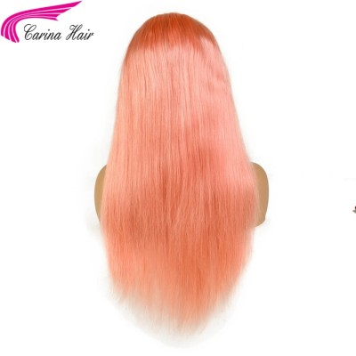 Pink Color Lace Front Wig Pre-Plucked Hairline Straight Hair with Baby Hair Glueless Wigs