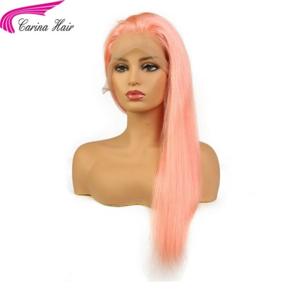 Peruvian Remy Human Hair Pink Color Full Lace Wig Pre-Plucked Hairline Straight Hair with Baby Hair Glueless Wigs