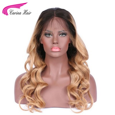 Ombre Blonde Two Tone Full Lace Wigs Glueless Peruvian Remy Human Hair Wigs Natural Hairline