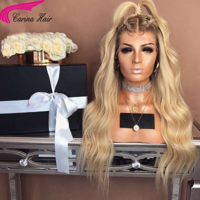 Carina Customized Ombre Blonde Lace Front Wigs 4/613 Wave Brazilian Virgin Human Hair Wigs