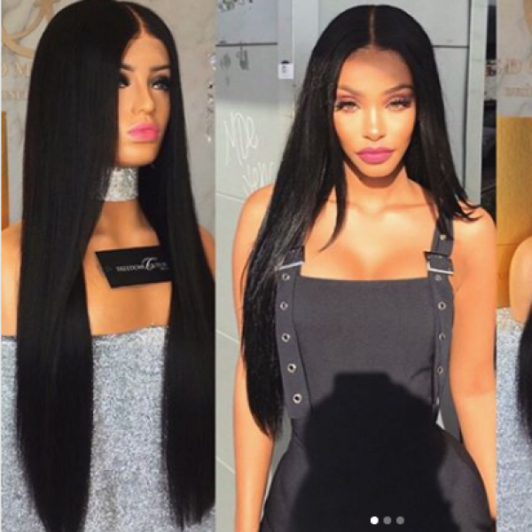 71b53a35b Silky Straight Lace Front Wigs Brazilian Remy Human Hair Full Lace Wigs