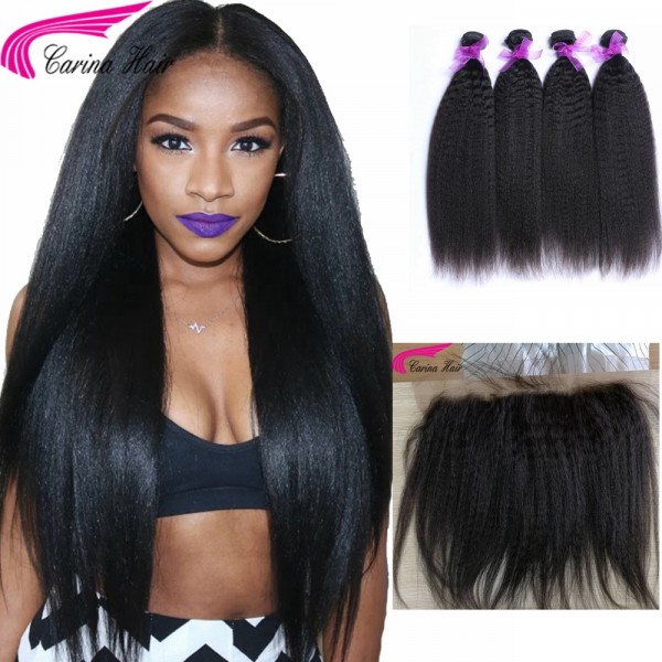 Kinky Straight Brazilian Hair Weave 4 Bundles With 13x4 Lace Frontal